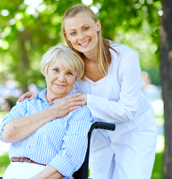 caregiver with an elderly woman